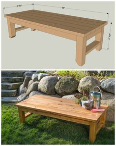 Here's the perfect pace to kick back and relax in your backyard. This bench is built from cedar for great looks that will last. Straightforward construction means it's easy to build, too. Outdoor Furniture Plans, Diy Furniture Easy, Furniture Market, Furniture Ideas, Furniture Design, Diy Coffee Table, Diy Table, Wooden Diy, Wooden Benches Diy