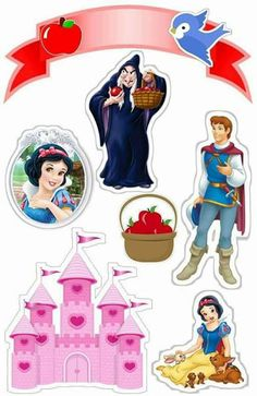 Cinderella Birthday Party: Free Party Printables, Images and Papers. Snow White Cake, Snow White Birthday, Oh My Fiesta, Disney Princess Party, Princess Cakes, Disney Scrapbook, Disney Crafts, Princesas Disney, Print And Cut