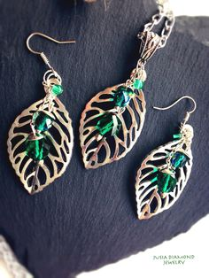Emerald Leafs Earrings, Swarovski Earrings, Antique Silver Earrings, Chain Dangle Earrings, Large Nature Leafs Jewellery, Handmade Tresure by JusiaDiamondJewelry on Etsy https://www.etsy.com/listing/237026767/emerald-leafs-earrings-swarovski