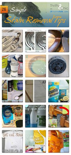 Stain Removal Idea Box by Thrifty and Chic 26 Simple Stain Removal Tips Homemade Cleaning Supplies, Household Cleaning Tips, Household Cleaners, Cleaning Hacks, Diy Cleaners, Cleaners Homemade, Lava, Life Hacks, Laundry Hacks