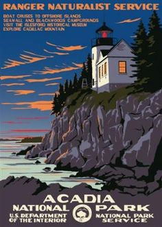 Acadia National Park- Ranger Doug's Enterprises, hand done seriograph reproductions of all the amazing WPA NPS posters.