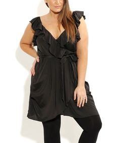 Look what I found on #zulily! City Chic Black Ruffle Wrap Tunic - Plus by City Chic #zulilyfinds