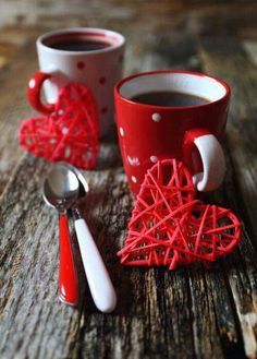 coffee and red hearts