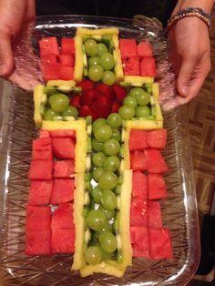 Cross fruit platter for a Baptism party