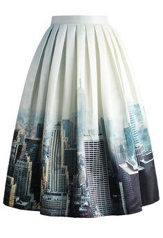 New York Skyline Printed Midi Skirt - Skirt - Bottoms - Retro, Indie and Unique Fashion White Midi Skirt, Midi Flare Skirt, Pleated Midi Skirt, Flared Skirt, Gray Skirt, Unique Fashion, Womens Fashion, Fashion Design, Chicwish Skirt