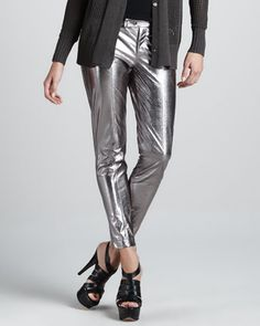 $348, Silver Skinny Pants: Metallic Leather Cropped Pants by Robert Rodriguez. Sold by Neiman Marcus. Click for more info: http://lookastic.com/women/shop_items/79789/redirect