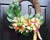 """Door Wreath - """"Peaches and Green"""""""