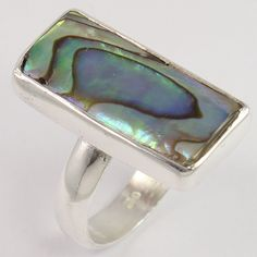 925 Sterling Silver Men's Fashion Ring Size US 6.75 Natural ABALONE SHELL Gems #Unbranded
