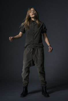 "button-down shirt and ""A.S."" drop-rise drawstring pants by 1.61 via Barney's"