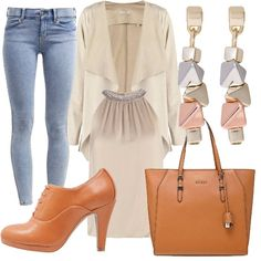 Outfit sui toni del rosa cipria adatto a vari tipi di fisicità. E' composto da jeans stretch ed un top e una giacca morbidi. E' arricchito da orecchini e scarpe comode e da una borsa a mano capiente. Risulta adeguato sia per la mattina che per il pomeriggio.
