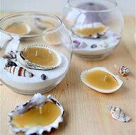 Seashell Beeswax Tea Lights These tea lights are a beautiful gift idea and look just beachy in glass candle bowls filled with sand and shells. From th...#/691850/seashell-beeswax-tea-lights?&_suid=135658617469608991637911400561