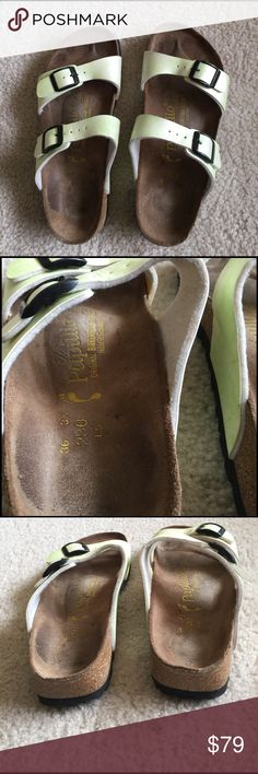 Birkenstock sandals Birkenstock papillio sandals. Euro size 36 but in us sizing that is a 5. Greenish tint in color. Normal wear on footbed but no damage Birkenstock Shoes Sandals