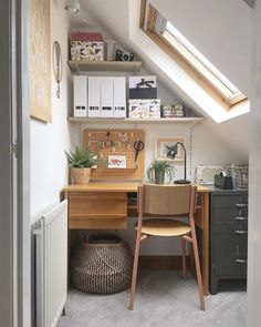 13 Beautiful Home Office Ideas Tiny Home Office, Loft Office, Small Home Offices, Cool Office Space, Home Office Design, Home Office Decor, Home Decor, Small Workspace, Küchen Design