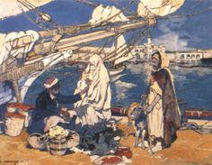 Peinture Port d'Alger - Marché devant l'Amirauté d'Alger par Léon Cauvy