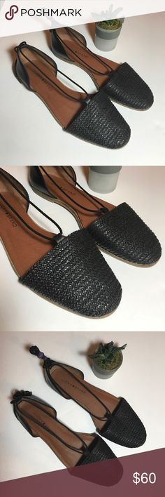 • LUCKY BRAND • lace up flats Worn once Lucky Brand lace up flats. Black. Size 8. Great condition! No signs of wear other than bottoms look like they have been worn once! Comfy & cute! Open to reasonable offers!  Lucky Brand Shoes Flats & Loafers