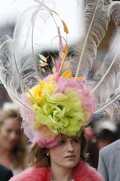 One of a kind hat Unusual Derby Ladies Day Hat Mia Flower Cascade Elegant Ascot Headpiece Red Yellow Designer Hat