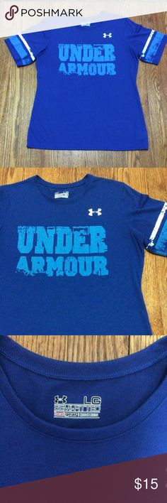 """UA Distressed Tee Beautiful blue distressed graphic tee. Jersey look and semi fitted. P-P 20"""" S-H 26 1/2"""" Under Armour Tops Tees - Short Sleeve"""