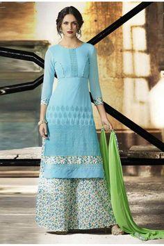 Ethnic Wear Blue & White Palazzo Suit  - 14880