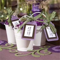 Wedding Favor Idea: Tin Pail Favor that you can customize with your wedding colors! All items are from Dollar Tree.