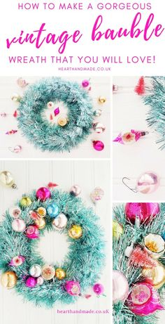 [ Christmas Crafts : Illustration Description Are you searching for a real conversation starter with your Christmas Home decor? Make your own DIY Bauble Christmas Tinsel, Christmas Home, Vintage Christmas, Christmas Decorations, Christmas Ideas, Christmas Inspiration, Holiday Ideas, Bauble Wreath, Diy Wreath