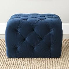 @Overstock.com - Safavieh Kenan Navy Blue Ottoman - Add a young graphic statement to contemporary rooms with the Kenan ottoman, a neat and structured update of the classic bean bag. Filled with foam and covered in velvety navy blue cotton fabric, this geometric design is detailed with button tufting. http://www.overstock.com/Home-Garden/Safavieh-Kenan-Navy-Blue-Ottoman/7827843/product.html?CID=214117 $289.99
