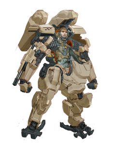 Robot in light browns Robot Concept Art, Armor Concept, Game Concept, Diesel Punk, Armadura Ninja, Character Concept, Character Design, Powered Exoskeleton, Mecha Suit