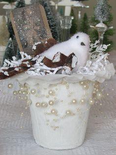 Christmas Decoration White Bird Peat Pot Holiday by porchandpillar