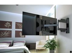 TV wall mount - swivel a solution for living room TV viewing angles Weisser TV wall mounts Diy Tv Wall Mount, Tv Wall Mount Bracket, Wall Mounted Tv, Tv Mounted In Corner, Tv Wand Design, Tv Stand Room Divider, Hanging Tv, Support Mural Tv, Tv Wall Brackets