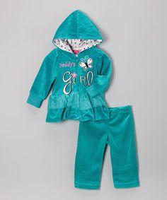 Look at this #zulilyfind! Blue Ruffle Zip-Up Hoodie & Sweatpants - Infant, Toddler & Girls #zulilyfinds