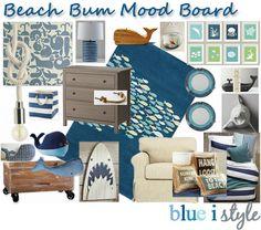 blue i style: {decorating with style} Mood Board: Beach Bum Big Boy Room