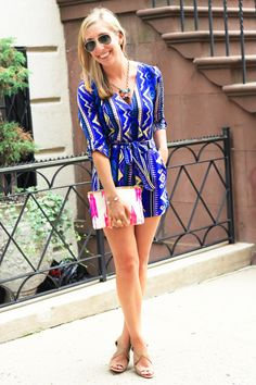 Use a long sleeve tribal print romper to transition from summer to fall fashion!