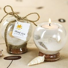 Sand and Shell-Filled Tea Light Holder by Beau-coup
