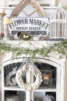 Country Farmhouse Decor Sign | Flower Market open daily | Shabby chic | Wood sign | #ad