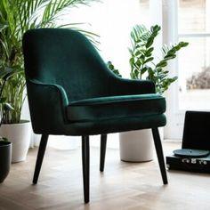 Eleonora Eetkamerstoel 'Kelvin' Velvet, kleur groen kopen? - Homeblend Wingback Chair, Armchair, Retro Vintage, Accent Chairs, New Homes, Velvet, Furniture, Home Decor, Sofa Chair