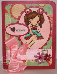 Recipe: Miss Anya Love Stamp by The Greeting Farm, Memento Tuxedo Black Ink, Red shimmer Reflections cardstock,  Neenah Solar White Cardstock,  Be Loved Designer Paper by My Minds' Eye, Oval and Scallop Nestabilities die, Petaloo Dazzlers, Heart Charm and Antique Rose Satin Ribbon from Mark's Finest Paper, Atyou Spica Glitter Pens in Peach and Lipstick, Rhinestone from M's, Copic ABS D60 airbrush, Oval and Scallop Oval Punches by SU!, Sentiment stamp- SU!, Copics: