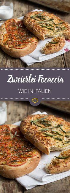 Mit diesem Rezept bereiten Sie gleich 2 der traditionellen Hefeteigfladen zu und bringen mit Rosmarin, Salbei und Tomaten mediterranes Flair auf die Teller.