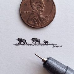 Sam Larson's tiny paintings are smaller than a penny and inspired by the landscapes and wildlife of the American West