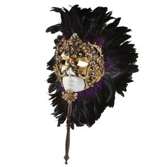 {Full Face Feather Mask Purple} Balocoloc Venetian Masks - a handheld mask