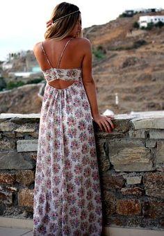 Women's fashion   Floral cut out maxi dress
