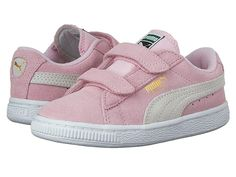 Puma Kids Suede 2 Straps (Little Kid) Girls Shoes Pink Lady PUMA Team Gold 14e06c15e