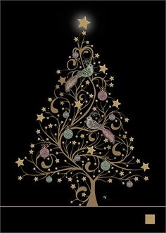 Star Tree and Birds - christmas card design by Jane Crowther, Bug Art