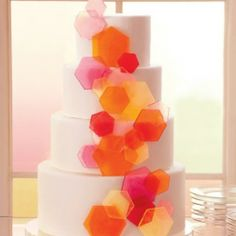 Modern wedding cakes with a splash of color (image via Easton Events).