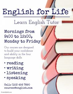 Copy of English language tutor flyer template Tutoring Flyer, Tutoring Business, English Study, Learn English, English Classes Online, Inspirational Classroom Posters, English Tuition, School Advertising, English Language Course