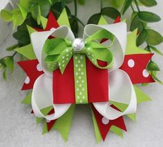 Christmas+Gift+Present+Stacked+Hair+Bow+by+BigBowBoutique+on+Etsy,+$9.99