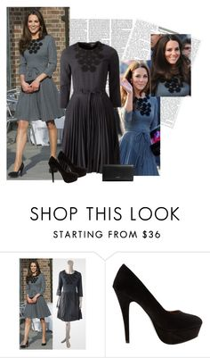 """""""style steal- kate middleton's gray dress"""" by janna-raub ❤ liked on Polyvore featuring Victoria Beckham, Orla Kiely, Therapy and Coach"""