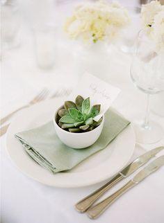 Succulent place card idea, replace white bowl with mini rustic terracotta pot