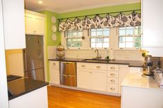 LOVE the black/white damask with the green.  I would probably use a less lime-y green but I like the effect.