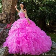 24ae650b29c8 Elegant Fuchsia Quinceanera Dresses With Beads Crystals Lace Up Sweetheart Ball  Gown Graduation Dress Custom Size Sweet 16 Prom Dress