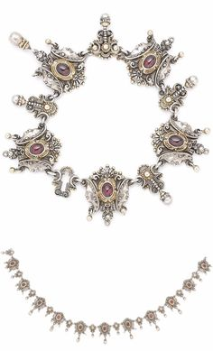 A late 19th century garnet and silver bracelet and necklace suite. The necklace designed as a continuous series of finely worked plaques, each centrally set with an oval cabochon garnet in collet setting, between carved profiles and suspending a polished roundel, accompanied by a bracelet en suite, Hungarian assay mark, several roundels deficient, lengths: necklace 39.5cm, bracelet 17.7cm