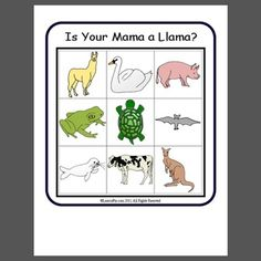Is Your Mama a Llama? : This material, titled Is Your Mama a Llama? has been made into a fun bingo game to accompany the book. Some extra animals have been added to the original Llama Llama Author, Llama Llama Misses Mama, Speech Language Therapy, Speech And Language, Literacy Activities, Preschool Activities, Page Turner Books, Are You My Mother, Crafts For 3 Year Olds